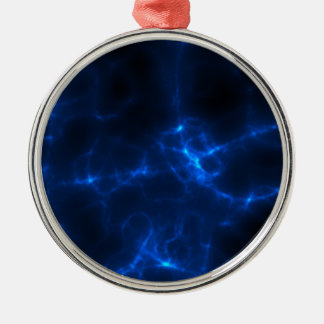 Electric Shock in Dark Blue Silver-Colored Round Ornament
