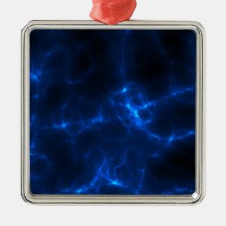 Electric Shock in Dark Blue Silver-Colored Square Ornament