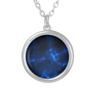 Electric Shock in Dark Blue Silver Plated Necklace
