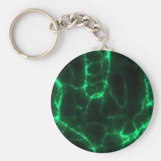 Electric Shock in Dark Green Basic Round Button Keychain