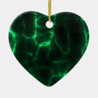 Electric Shock in Dark Green Ceramic Heart Ornament