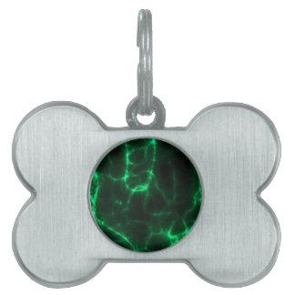 Electric Shock in Dark Green Pet Name Tag