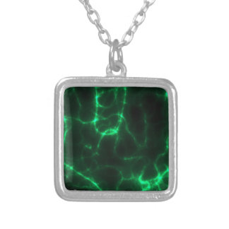 Electric Shock in Dark Green Silver Plated Necklace