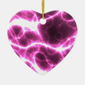 Electric Shock in Fuschia Ceramic Heart Ornament