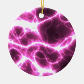 Electric Shock in Fuschia Round Ceramic Ornament