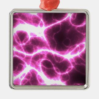 Electric Shock in Fuschia Silver-Colored Square Ornament