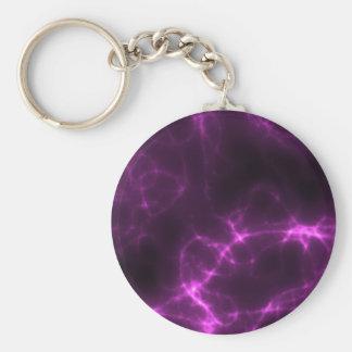 Electric Shock in Magenta Basic Round Button Keychain