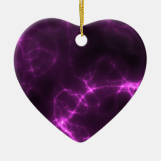 Electric Shock in Magenta Ceramic Heart Ornament