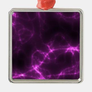 Electric Shock in Magenta Silver-Colored Square Ornament