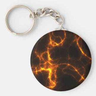 Electric Shock in Orange Basic Round Button Keychain
