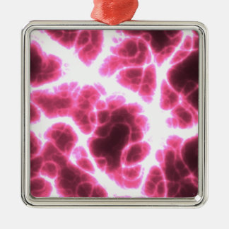 Electric Shock in Pink Silver-Colored Square Ornament