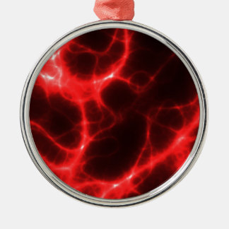Electric Shock in Red Silver-Colored Round Ornament