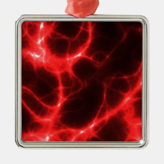 Electric Shock in Red Silver-Colored Square Ornament