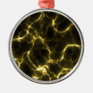 Electric Shock in Yellow Silver-Colored Round Ornament