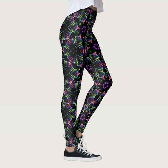 Electric Snowflake Leggings Neon on Black