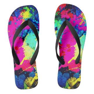 electric splatter unisex flip flops