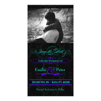 Electric Teal & Purple Photo Save the Date Personalized Photo Card