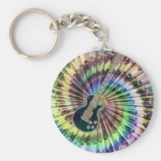 Electric Tie-Dye Guitar Basic Round Button Keychain