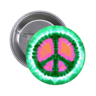 Electric Tie-Dye Peace Sign Pinback Buttons