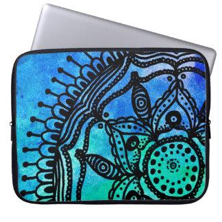 Electric Watercolor Mandala Laptop Sleeve. Laptop Sleeve