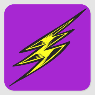 Electric Yellow Lightning Bolt Square Sticker