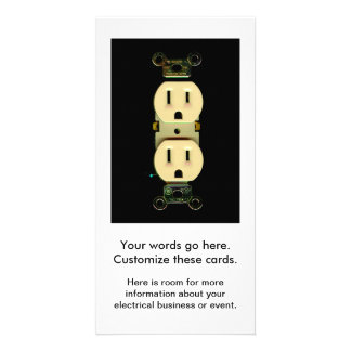 Electrical contractor outlet electricians business photo card