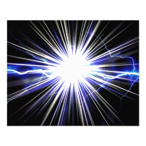Electrical Lightning Star Burst Photographic Print