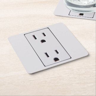 Electrical Outlet #2 Square Paper Coaster
