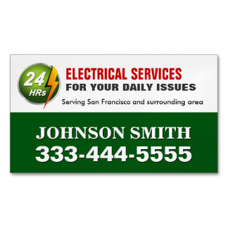 Electrical Power Service Electrician Fridge Magnet Magnetic Business Card