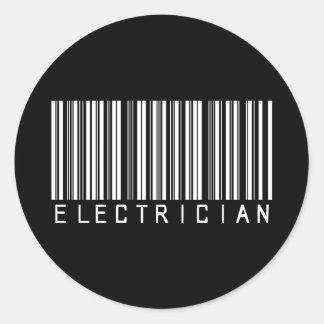 Electrician Bar Code Classic Round Sticker