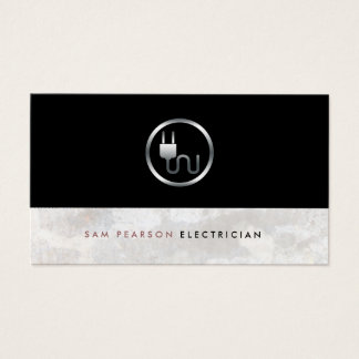 Electrician Bold Electric Plug Icon Simple Elegant Business Card