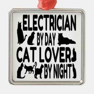 Electrician by Day Cat Lover by Night Silver-Colored Square Ornament