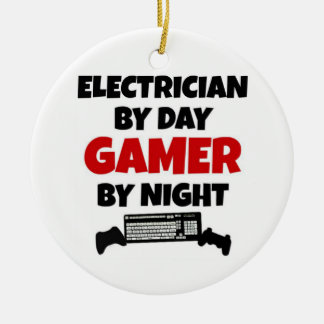 Electrician by Day Gamer by Night Round Ceramic Ornament