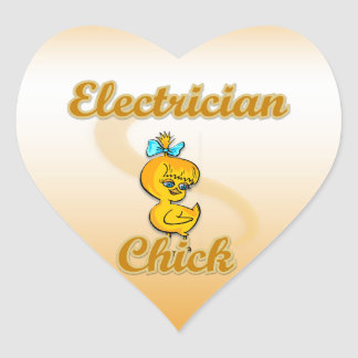 Electrician Chick Heart Sticker