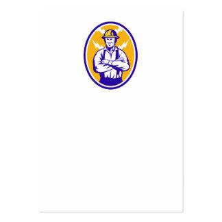 Electrician Construction Worker Lightning Bolt Business Card Templates