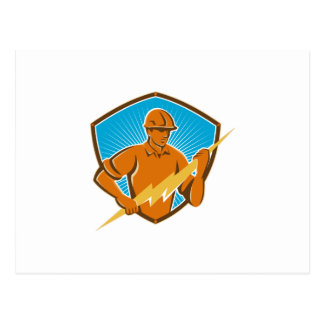 Electrician Construction Worker Retro Postcard