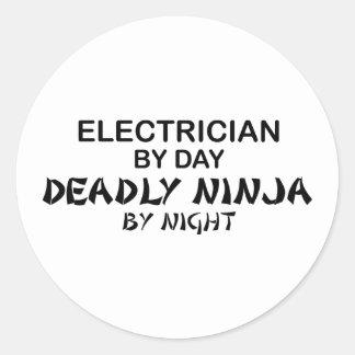 Electrician Deadly Ninja by Night Round Sticker