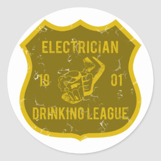 Electrician Drinking League Round Sticker