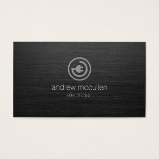 Electrician Electric Plug Icon Dark Brushed Metal Business Card