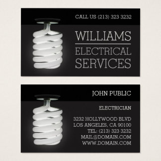 Electrician Electrical Services Light Bulb Business Card