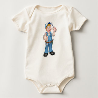 Electrician Handyman Cartoon Character Baby Bodysuit