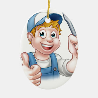 Electrician Handyman Cartoon Character Ceramic Oval Ornament