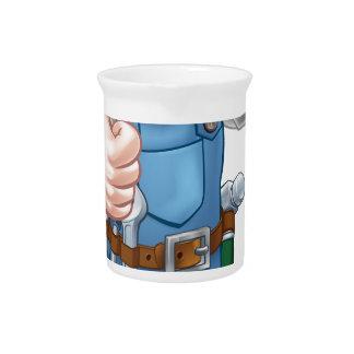 Electrician Handyman Cartoon Character Drink Pitchers