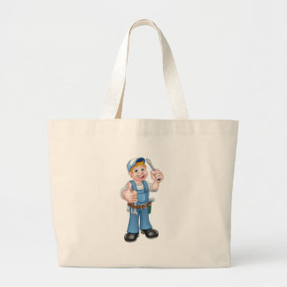 Electrician Handyman Cartoon Character Large Tote Bag