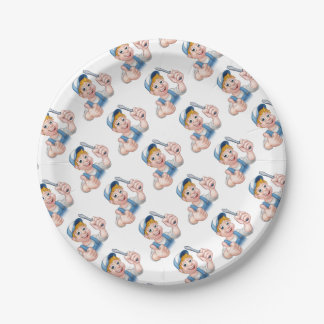 Electrician Handyman Cartoon Character Paper Plate