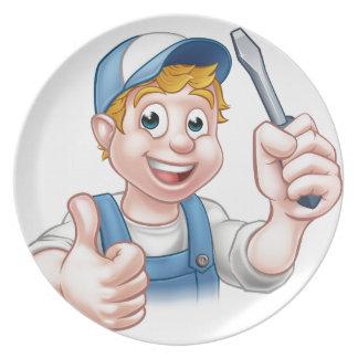 Electrician Handyman Cartoon Character Party Plates