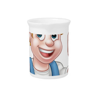 Electrician Handyman Cartoon Character Pitcher