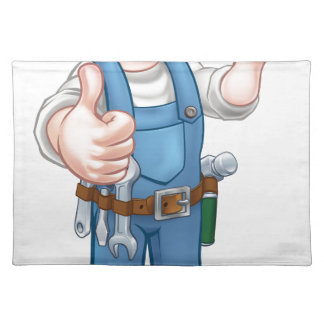 Electrician Handyman Cartoon Character Placemats
