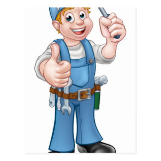 Electrician Handyman Cartoon Character Postcard