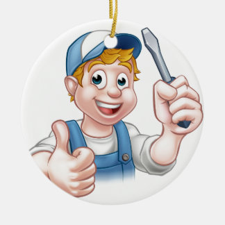Electrician Handyman Cartoon Character Round Ceramic Ornament